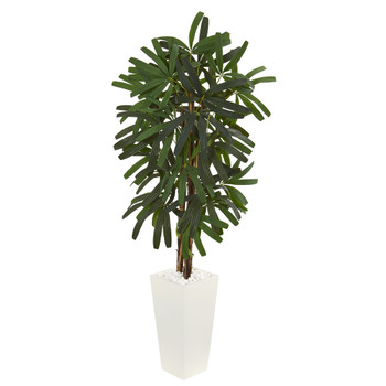 5.5 Raphis Palm Artificial Tree in White Tower Planter - SKU #5867