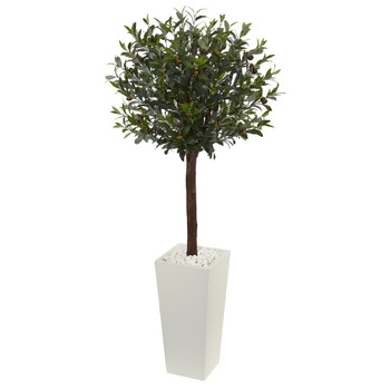 5 Olive Topiary Artificial Tree in White Tower Planter - SKU #5868