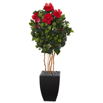 4.5 Hibiscus Artificial Tree in Black Washed Planter - SKU #5870