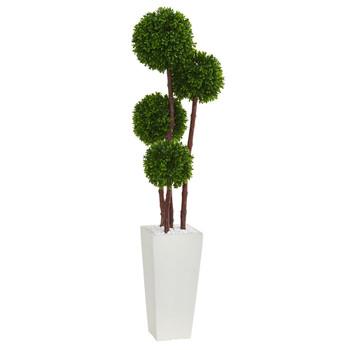 4 Boxwood Topiary Artificial Tree in Planter UV Resistant Indoor/Outdoor - SKU #5872