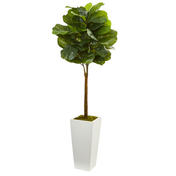 4 Fiddle Leaf Artificial Tree in White Tower Planter - SKU #5873