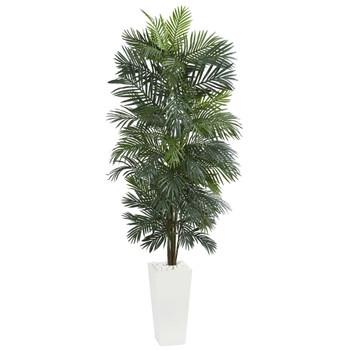 7 Areca Artificial Tree in White Tower Planter - SKU #5876