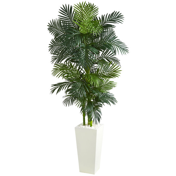 Golden Cane Palm Artificial Tree in White Tower Planter - SKU #5877