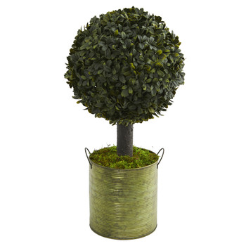 1.5 Boxwood Ball Topiary Artificial Tree in Green Tin Indoor/Outdoor - SKU #5880