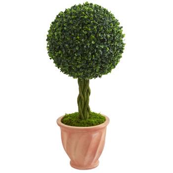 2 Boxwood Ball Topiary Artificial Tree in Terracotta Planter UV Resistant Indoor/Outdoor - SKU #5881