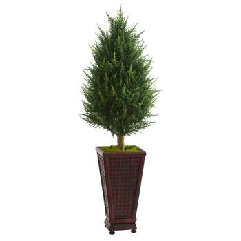 4 Cypress Cone Artificial Tree in Decorative Planter - SKU #5882