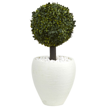 26 Boxwood Topiary Artificial Tree in White Oval Planter Indoor/Outdoor - SKU #5884