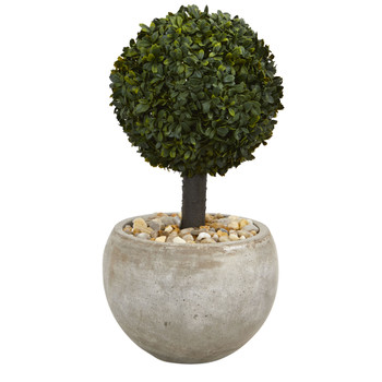 2 Boxwood Topiary Artificial Tree in Sand Colored Bowl Indoor/Outdoor - SKU #5886