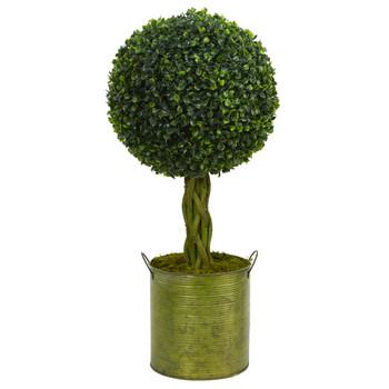 2 Boxwood Ball Topiary Artificial Tree in Green Tin UV Resistant Indoor/Outdoor - SKU #5887