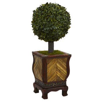27 Boxwood Ball Topiary Artificial Tree in Decorative Planter - SKU #5888