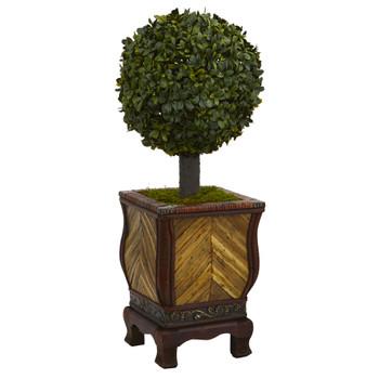 27 Boxwood Ball Topiary Artificial Tree in Decorative Planter - SKU #5888