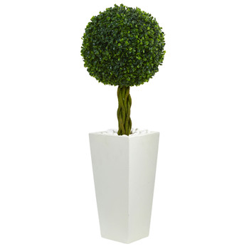 2.5 Boxwood Ball Topiary Artificial Tree in White Tower Planter UV Resistant Indoor/Outdoor - SKU #5889