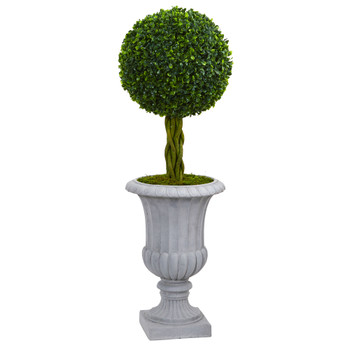 3 Braided Boxwood Topiary Artificial Tree in Gray Urn UV Resistant Indoor/Outdoor - SKU #5891