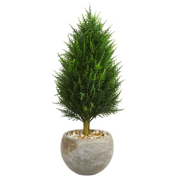3 Cypress Cone Artificial Tree in Sand Colored Bowl UV Resistant Indoor/Outdoor - SKU #5892