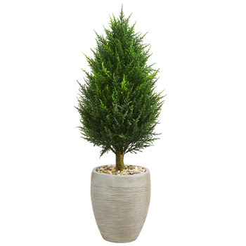40 Cypress Cone Artificial Tree in Sand Colored Oval Planter UV Resistant Indoor/Outdoor - SKU #5893