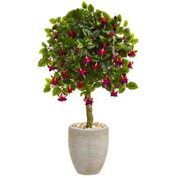 3 Fuschia Artificial Tree in Sand Colored Oval Planter - SKU #5894