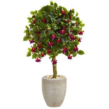 3 Fuschia Artificial Tree in Sand Colored Oval Planter - SKU #5894