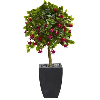 4 Fuschia Artificial Tree in Black Wash Planter - SKU #5896