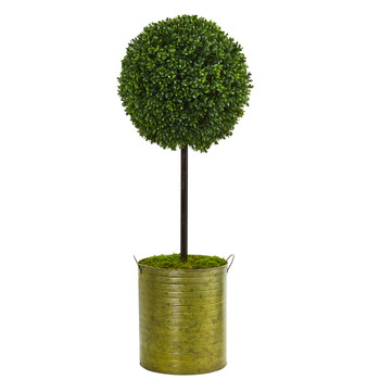 2.5 Boxwood Topiary Artificial Tree in Green Tin UV Resistant Indoor/Outdoor - SKU #5897