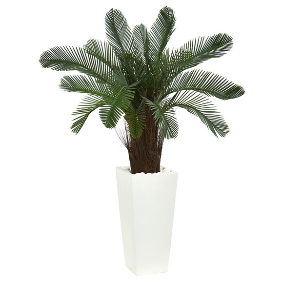 40 Cycas Artificial Tree in White Tower Planter UV Resistant Indoor/Outdoor - SKU #5898