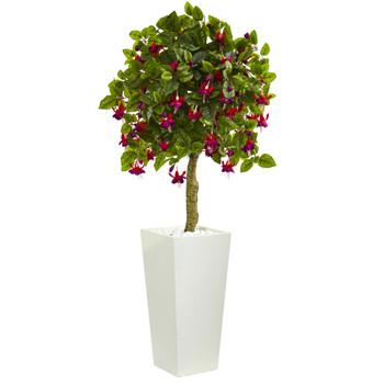4 Fuschia Artificial Tree in White Tower Planter - SKU #5899