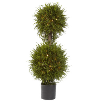 40 Cedar Double Ball Topiary w/Lights - SKU #5916
