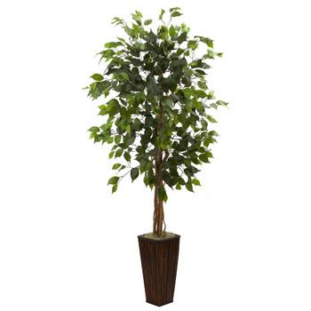 5.5 Ficus Tree w/Bamboo Planter - SKU #5924