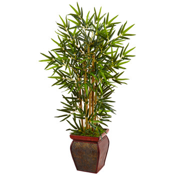 3.5 Bamboo Tree in Wooden Decorative Planter - SKU #5933