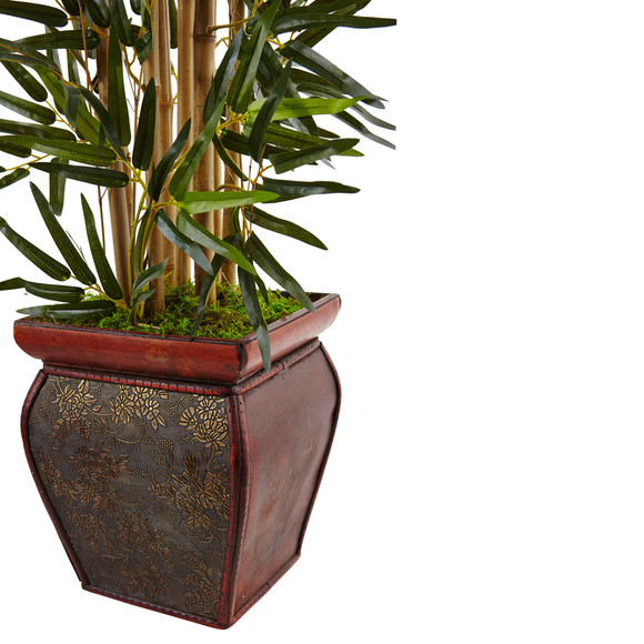 3.5 Bamboo Tree in Wooden Decorative Planter - SKU #5933 - 2