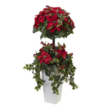 4 Poinsettia Berry Topiary w/Decorative Planter - SKU #5941