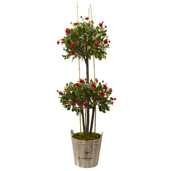 5.5 Rose Topiary Tree with Farmhouse Planter - SKU #5945