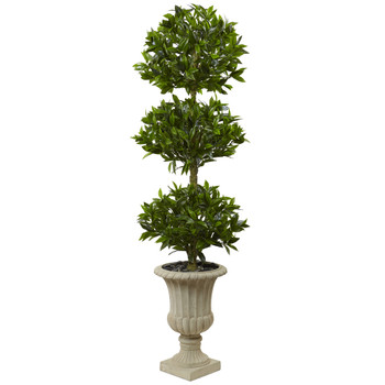 5.5 Triple Bay Leaf Topiary Artificial Tree in Urn UV Resistant Indoor/Outdoor - SKU #5949