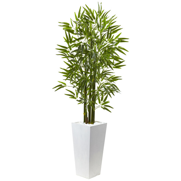 Bamboo Tree with White Planter UV Resistant Indoor/Outdoor - SKU #5953