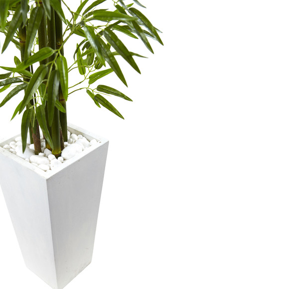 Bamboo Tree with White Planter UV Resistant Indoor/Outdoor - SKU #5953 - 1