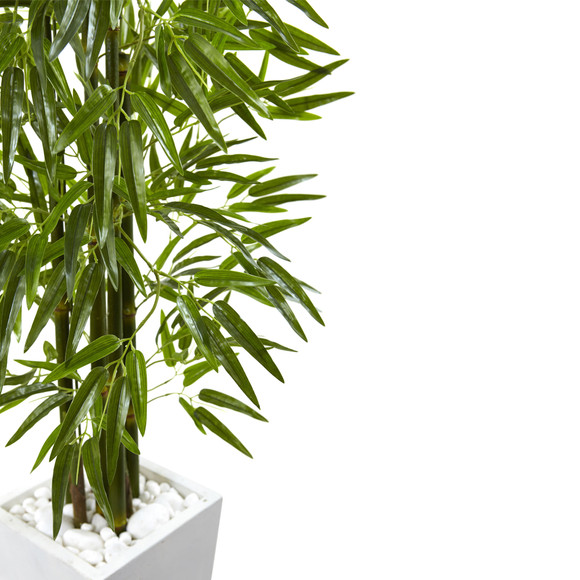 Bamboo Tree with White Planter UV Resistant Indoor/Outdoor - SKU #5953 - 2