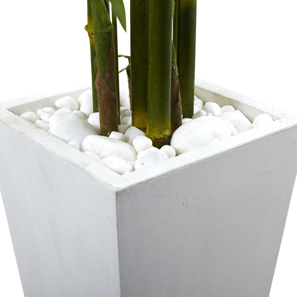 Bamboo Tree with White Planter UV Resistant Indoor/Outdoor - SKU #5953 - 3