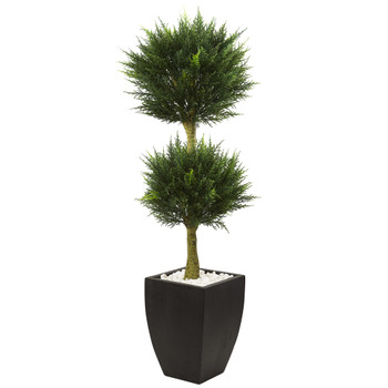 Cypress Topiary with Black Planter UV Resistant Indoor/Outdoor - SKU #5956