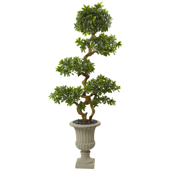 6 Pittosporum Artificial Tree in Urn UV Resistant Indoor/Outdoor - SKU #5957