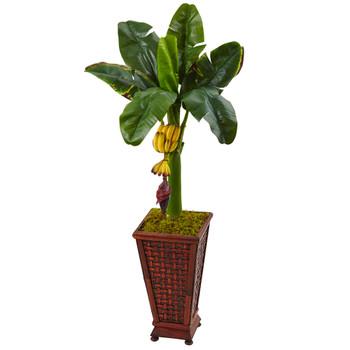 3.5 Banana Tree in Wooden Planter - SKU #5959