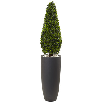 50 Boxwood Topiary with Gray Cylindrical Planter UV Resistant Indoor/Outdoor - SKU #5961