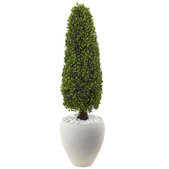 Boxwood Topiary with White Planter UV Resistant Indoor/Outdoor - SKU #5962