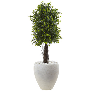 Ixora Topiary with White Planter UV Resistant Indoor/Outdoor - SKU #5963