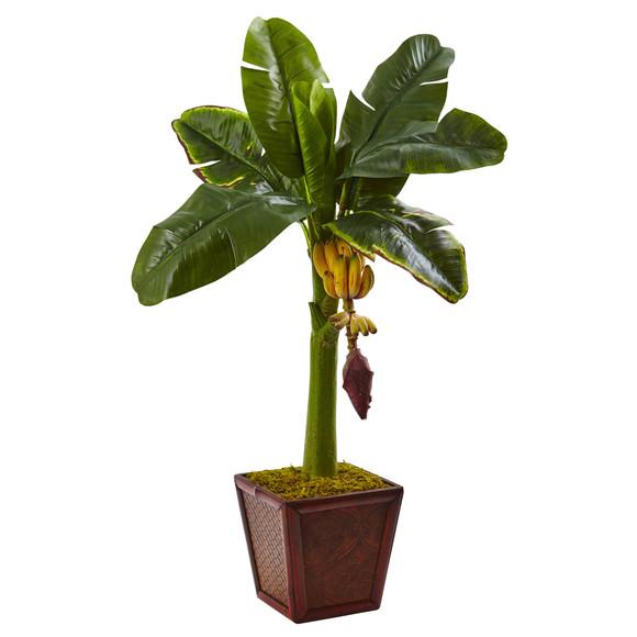 Banana Tree in Wooden Planter - SKU #5968