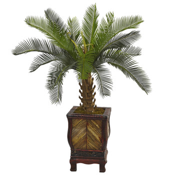 3 Cycas Tree in Wood Planter - SKU #5972