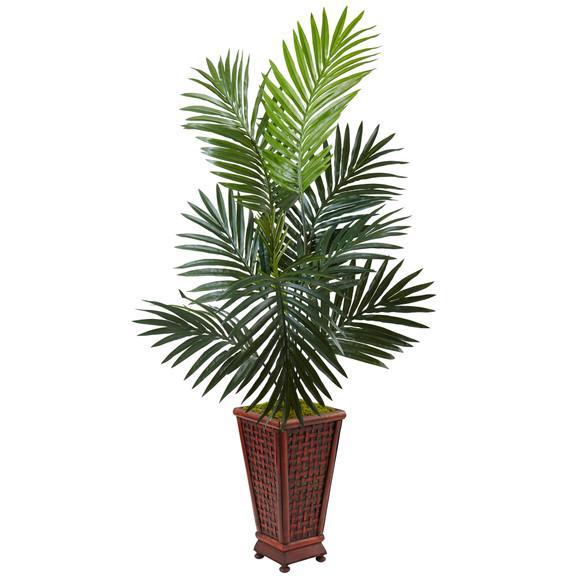 4.5 Kentia Palm Tree in Decorative Wood Planter - SKU #5984