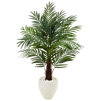 4.5 Areca Palm Tree in White Oval Planter - SKU #5985