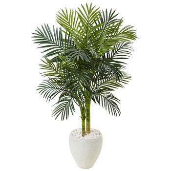 4.5 Golden Cane Palm Tree in White Oval Planter - SKU #5986
