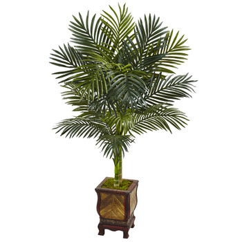 4.5 Golden Cane Palm Tree in Wooden Decorated Planter - SKU #5989