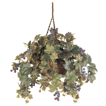 Grape Leaf Hanging Basket Silk Plant - SKU #6026
