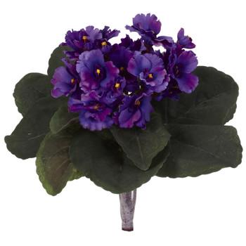 9 African Violet Artificial Plant Set of 6 - SKU #6068-S6